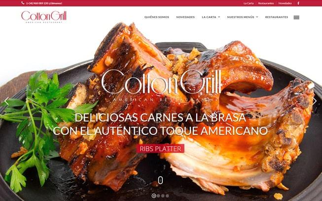 Diseño página web Cotton Grill