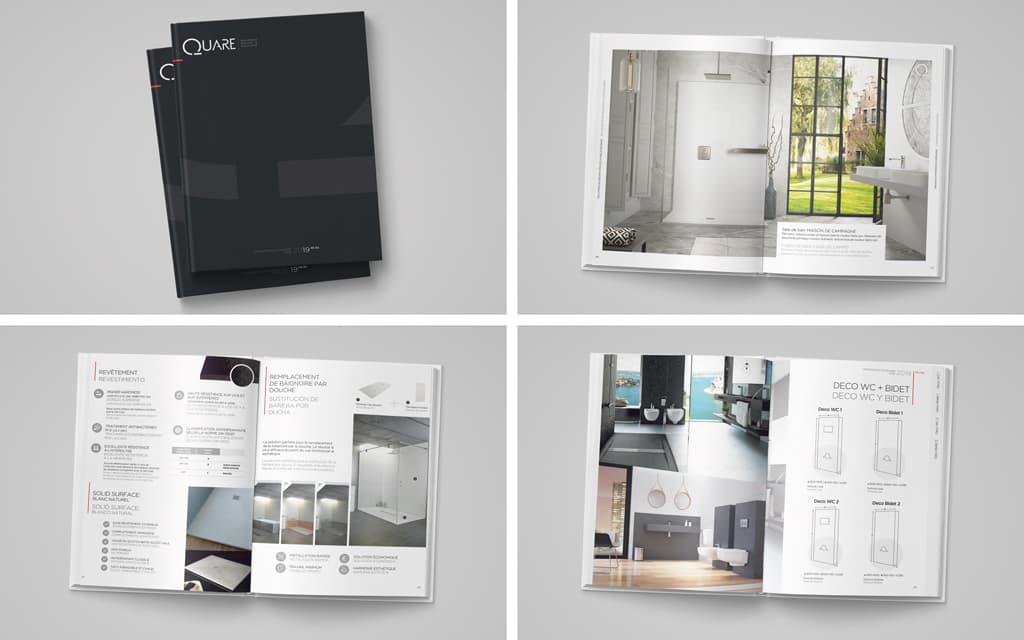 Diseño catálogo corporativo de productos Quare Design - Brande Comunicación