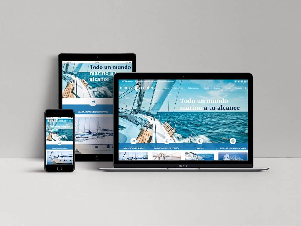 Diseño página web responsive Marina Center - Brande Comunicación
