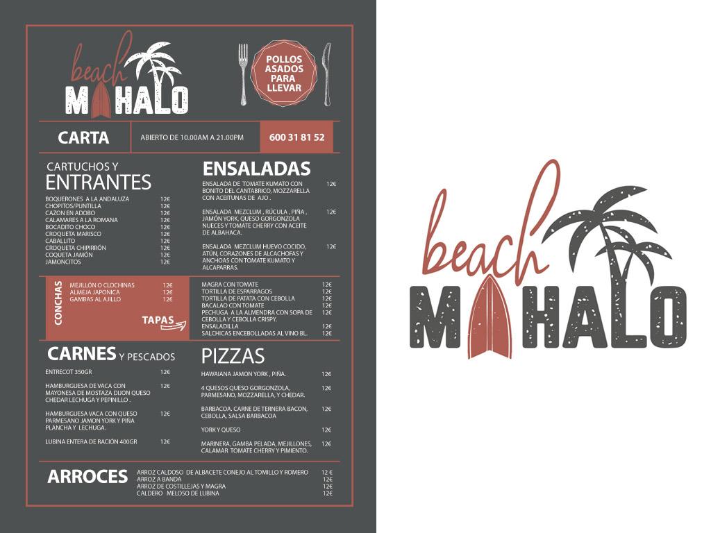 diseño carta menú restaurante Mahalo Beach