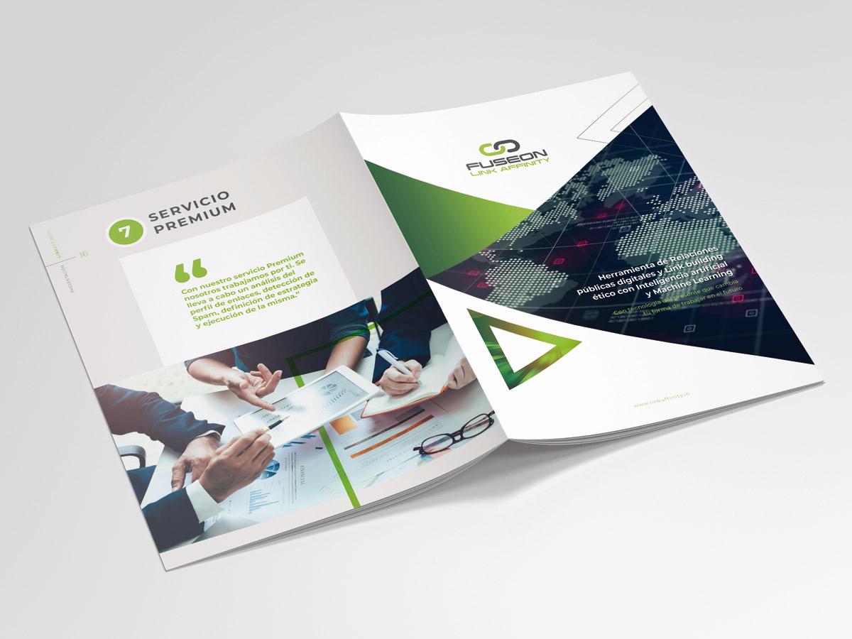 diseño dossier catálogo corporativo linkaffinity